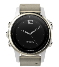 GARMIN Спортивные часы с GPS Fenix 5S Sapphire Champagne с замшевым ремешком