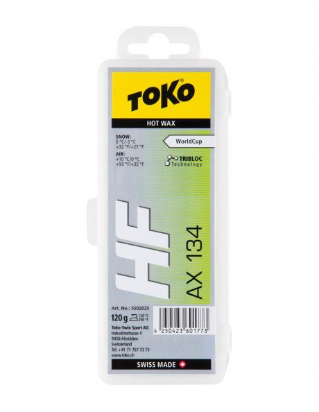 TOKO Парафин HF HOT WAX AX134 зеленый (0/-3), 120 г Артикул: 5502025