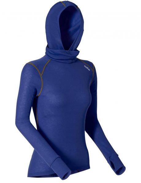 ODLO Футболка с длинным рукавом с капюшоном и маской женская WARM Артикул: 152071