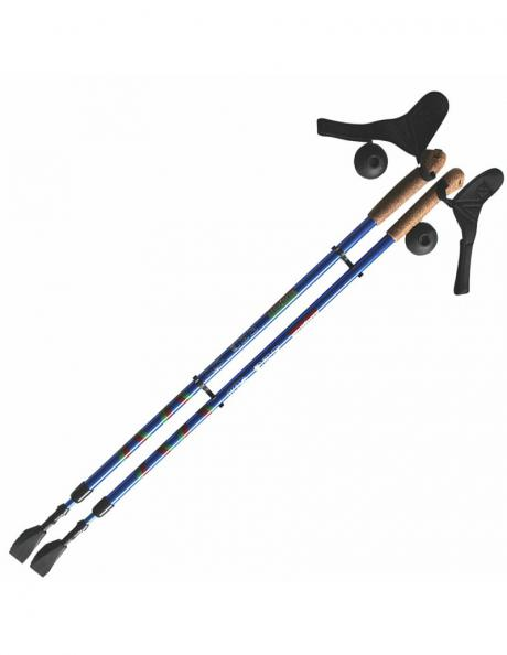 ERGOFORCE Палки для ходьбы телескопические, синий/красный Артикул: E 0673