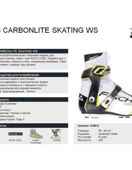 FISCHER Лыжные ботинки RCS CARBONLITE SKATING WS Артикул: S10613