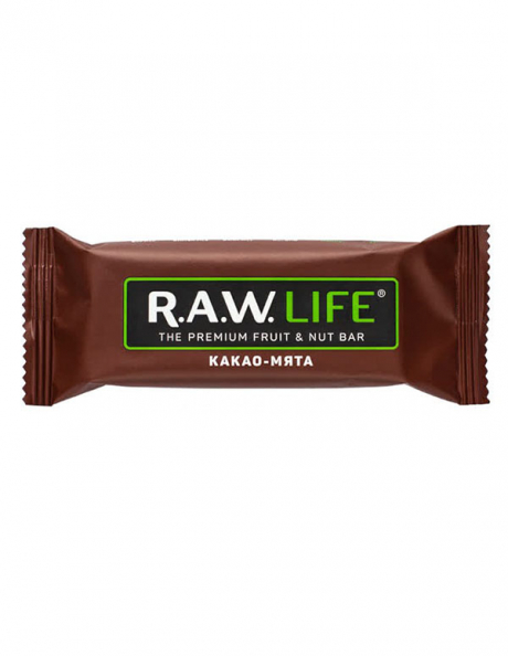 "R.A.W LIFE Батончик ""Какао-мята"", 47 г Артикул: RAWLIFE-05"